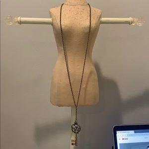 long gold key necklace